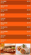Portrait Digital Menu Board - 10 Items in Orange color