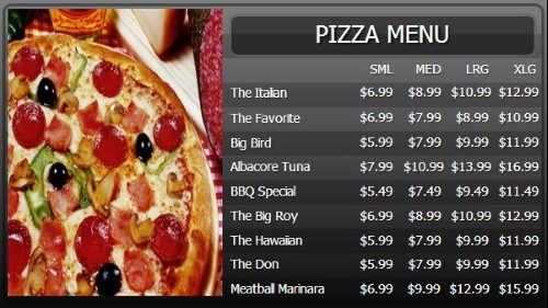 Digital Menu Board - 10 Items with 4 Price Levels in Black color