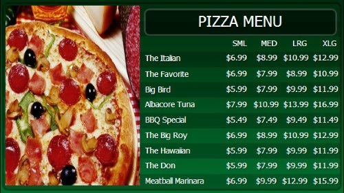 Digital Menu Board - 10 Items with 4 Price Levels in Green color