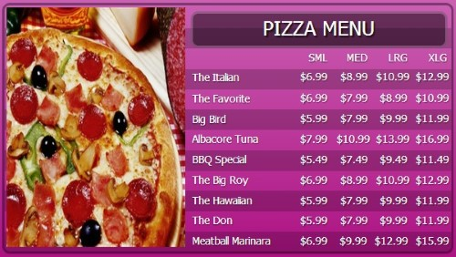 Digital Menu Board - 10 Items with 4 Price Levels in Purple color