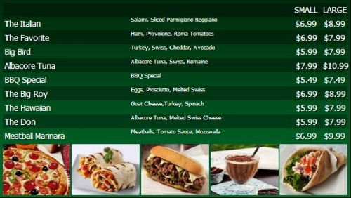 Digital Menu Board - 10 Items with 2 Price Levels in Green color