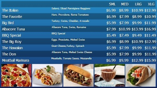 Digital Menu Board - 10 Items with 4 Price Levels in Blue color