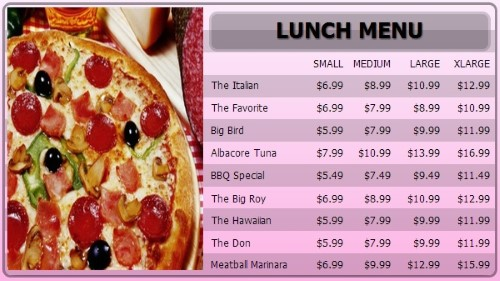 Digital Menu Board - 10 Items with 4 Price Levels in Pink color