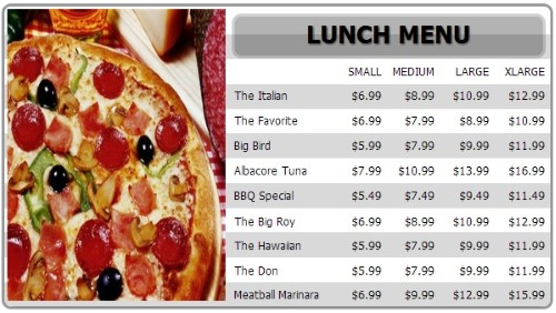 Digital Menu Board - 10 Items with 4 Price Levels in White color