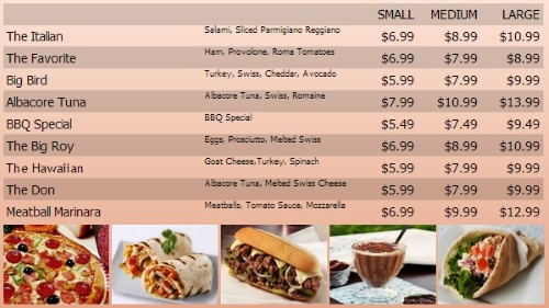 Digital Menu Board - 10 Items with 3 Price Levels in Orange color