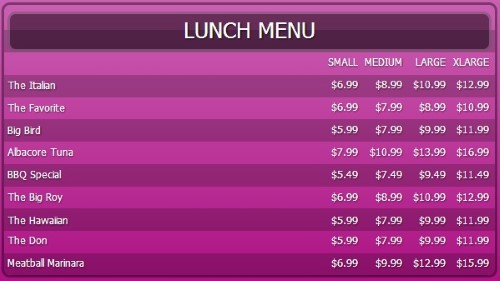 Digital Signage Template for Digital Menu Board - 10 Items with 4 Price Levels