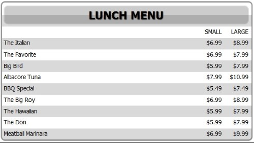 Digital Menu Board - 10 Items with 2 Price Levels in White color