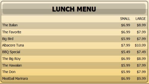 Digital Menu Board - 10 Items with 2 Price Levels in Yellow color