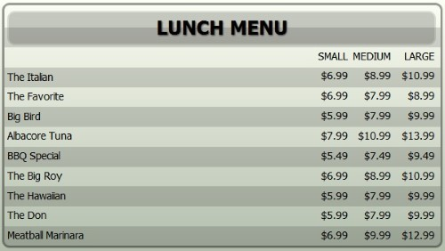 Digital Menu Board - 10 Items with 3 Price Levels in Grey color