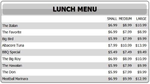 Digital Menu Board - 10 Items with 3 Price Levels in White color