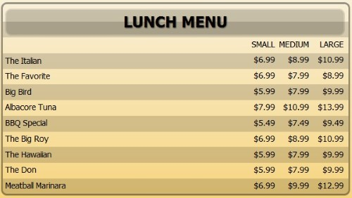Digital Menu Board - 10 Items with 3 Price Levels in Yellow color
