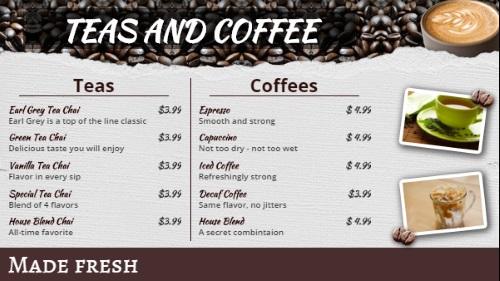 Coffee Shop / Cafe Menu - 10 Items