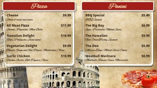Italian Restaurant Menu Board - 10 Items
