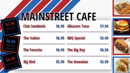 Flag Stripes Style Menu - 11 Items in Red color