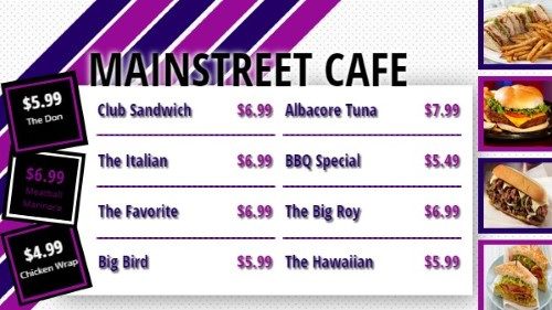 Flag Stripes Style Menu - 11 Items in Magenta color