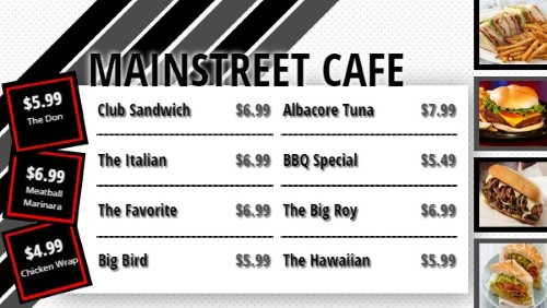 Flag Stripes Style Menu - 11 Items in Black color