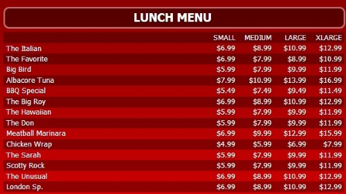Digital Menu Board - 15 Items with 4 Price Levels in Red color