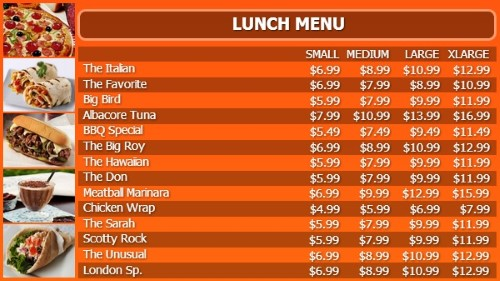 Digital Signage Template for Digital Menu Board - 15 Items with 4 Price Levels