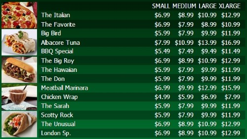 Digital Menu Board - 15 Items with 4 Price Levels in Green color