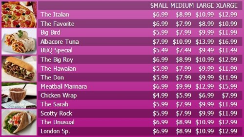 Digital Menu Board - 15 Items with 4 Price Levels in Purple color