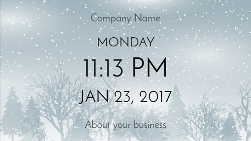 Date and Time With Company Name - Seasonal in Winter color