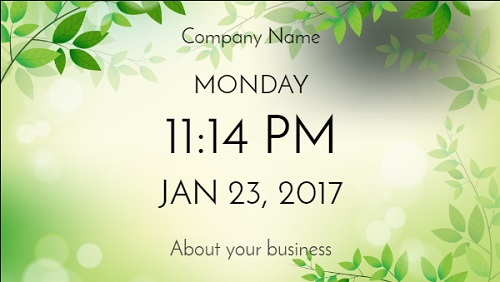 Date and Time With Company Name - Seasonal in Spring color