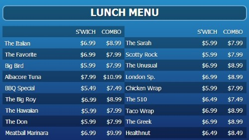 Digital Signage Template for Digital Menu Board - 20 Items with 2 Price Levels