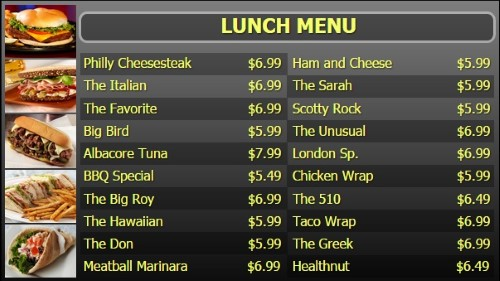 Digital Signage Template for Digital Menu Board - 20 Items - Yellow Text