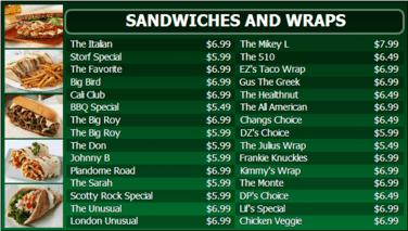 Digital Menu Board - 30 Items in Green color