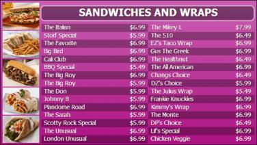 Digital Menu Board - 30 Items in Purple color