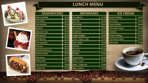Coffee Shop / Cafe Menu - 38 Items in Green color