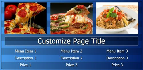 Digital Menu Board - 3 Items in Blue color