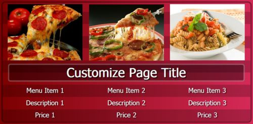 Digital Menu Board - 3 Items in Maroon color