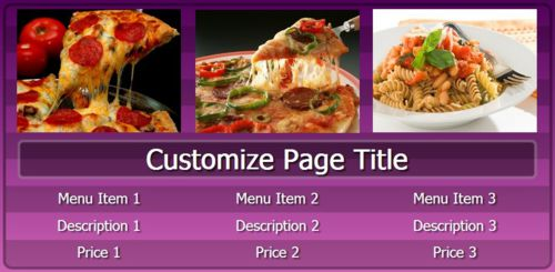 Digital Menu Board - 3 Items in Purple color
