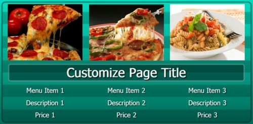 Digital Menu Board - 3 Items in Teal color