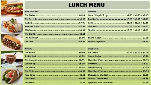 Digital Menu Board - 40 Items in Green color