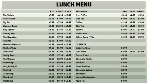 Digital Menu Board - 40 Items with 3 Price Levels in Grey color
