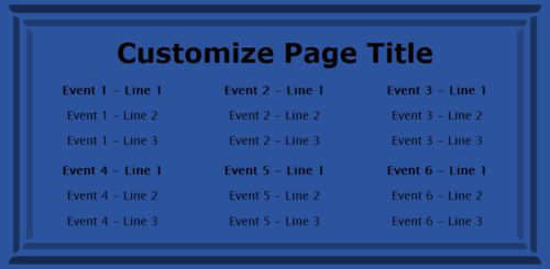 6 Events / Schedules in Blue color