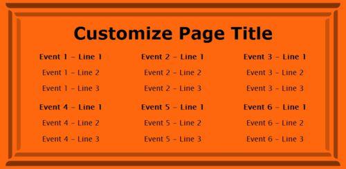6 Events / Schedules in Orange color
