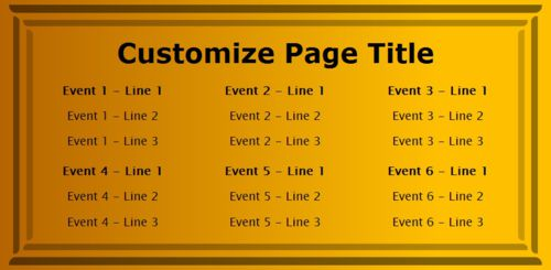 6 Events / Schedules in Yellow color