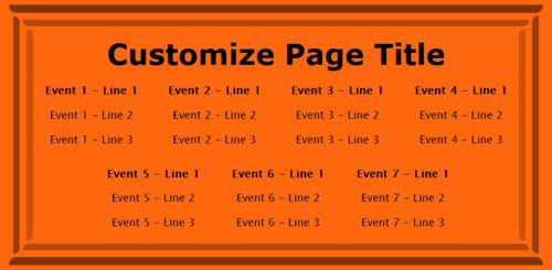 7 Events / Schedules in Orange color