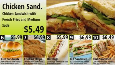 Combo Menu Board with Promos - 6 to 10 in Green color