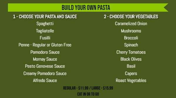 Build Your Own Menu - 20 Items in Green color