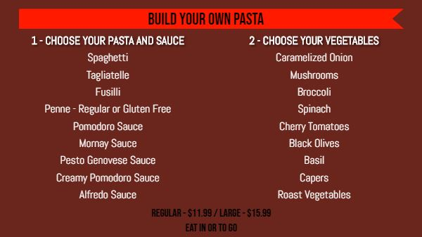 Build Your Own Menu - 20 Items in Red color