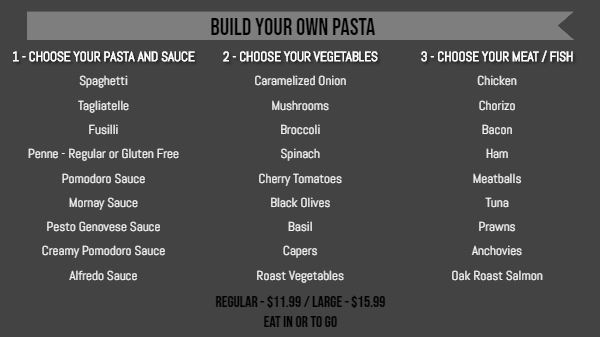 Build Your Own Menu - 30 Items in Black color