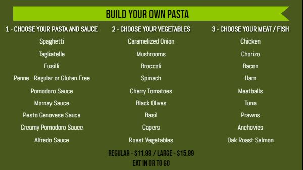 Build Your Own Menu - 30 Items in Green color