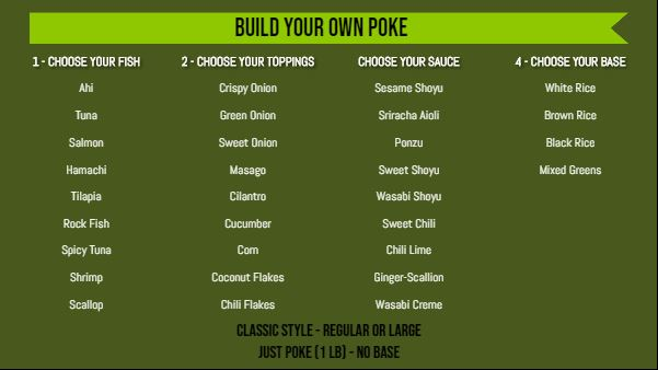 Build Your Own Menu - 40 Items in Green color