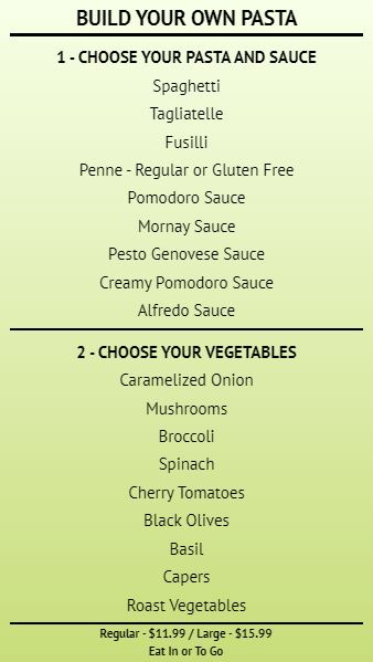 Build Your Own - Menu Board - 20 Items in Green color