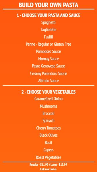 Build Your Own - Menu Board - 20 Items in Orange color
