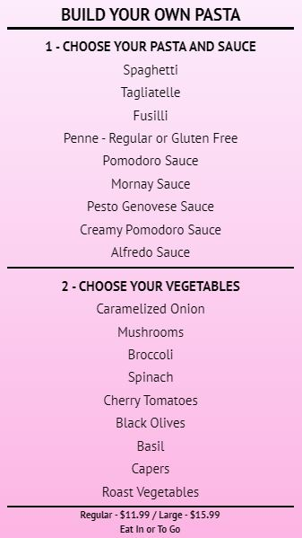 Build Your Own - Menu Board - 20 Items in Pink color
